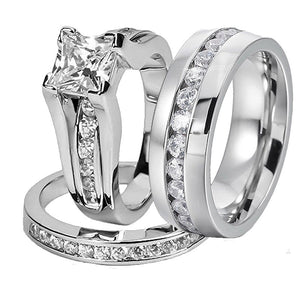 Zirconia Array Tungsten Carbide Band and Zirconia Titanium Steel Wedding Ring Set