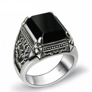 925 Sterling Silver Black Onyx Zircon Ring with Engraved Flower - Innovato Store