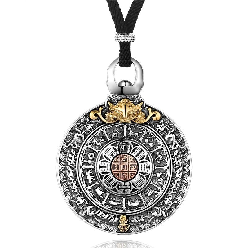 925 Sterling Silver Chinese Zodiac Pendant Necklace for Men