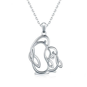 Mother and Child Penguin Pendant 925 Sterling Silver Necklace