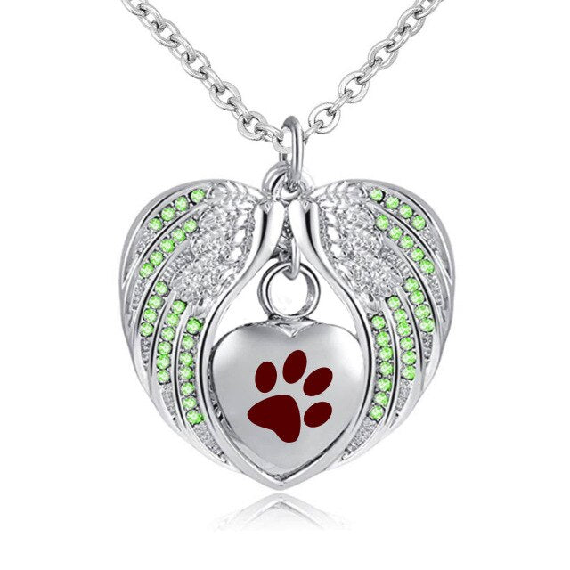 Heart Paw Print with Angel Wing Birthstone Pendant Necklace Pet's Cremation Jewelry