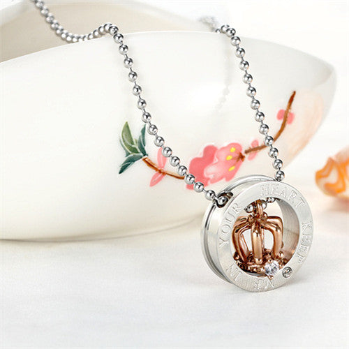 Stainless Steel King and Queen Crown Pendant Necklace for Couple