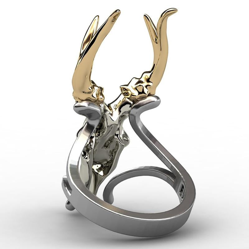 Goat's Skull Punk Ring Women's Jewelry