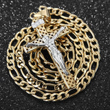 Jesus Christ Gold and Silver Cross Pendant Necklace