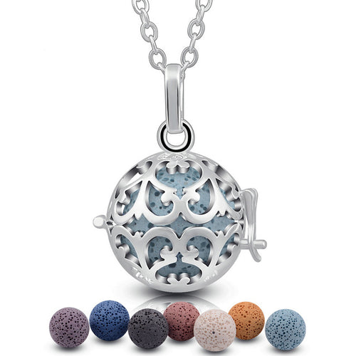 Teardrop Paisley Design Essential Oil Diffuser Ball Shape Locket Necklace