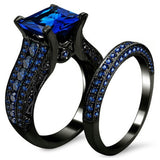 Black Celtic Dragon Inlay Band and Blue Cubic Zirconia Wedding Ring Set