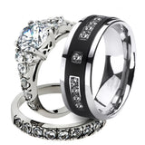 Brushed Matte Tungsten Carbide Band and Cubic Zirconia Wedding Ring Set