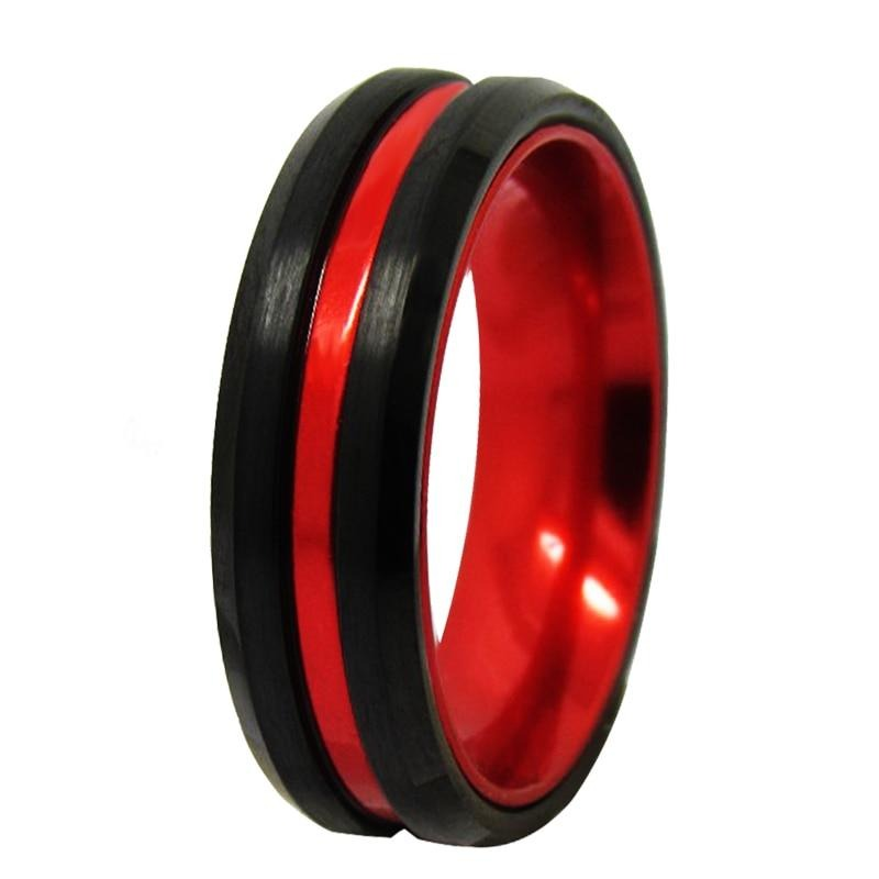 8mm, 6mm Black & Red Tungsten Carbide Wedding Band