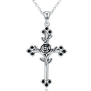 925 Sterling Silver Rose and Leaf Cross Pendant Necklace