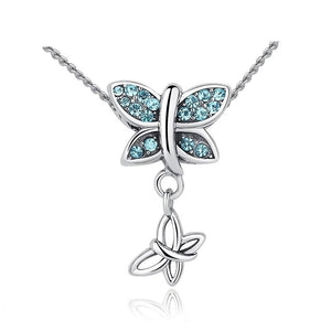 925 Sterling Silver Blue Cubic Zirconia Butterfly Pendant Necklace