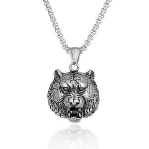 Vintage Gothic Tiger Zodiac Necklace for Men