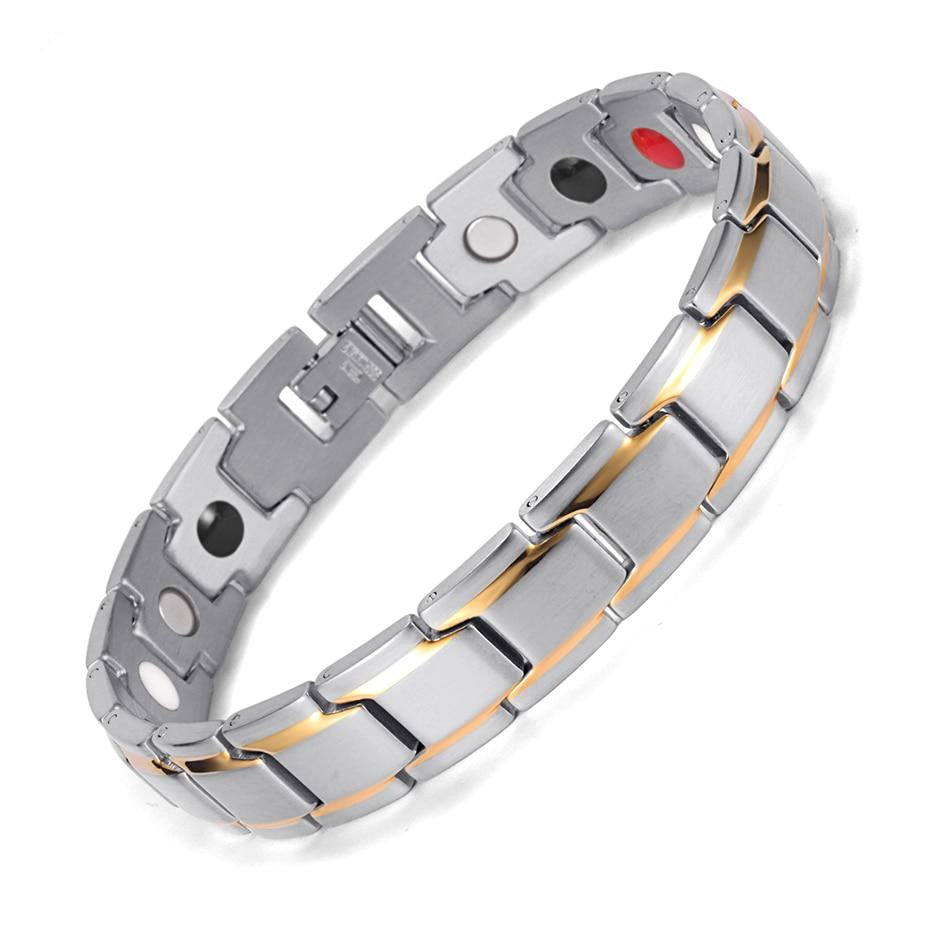 Silver & Gold Stainless Steel FIR Energy Magnetic Germanium Bracelet