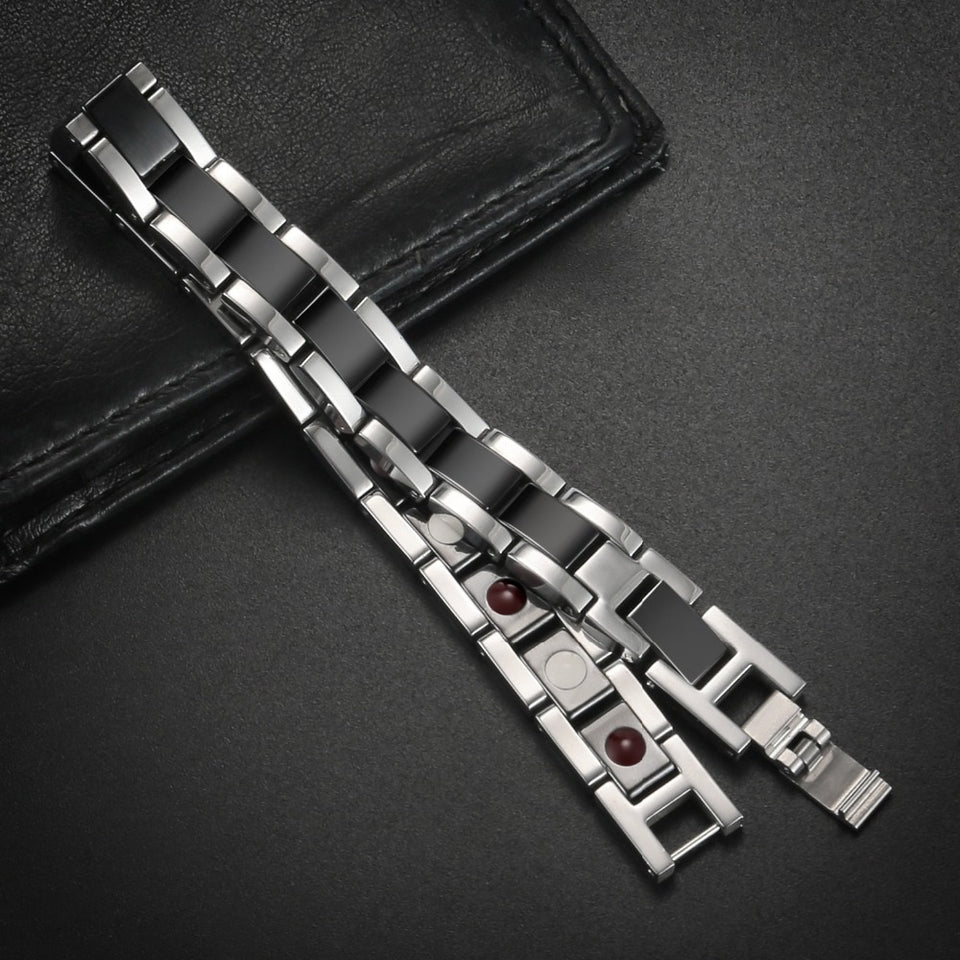 Black & Silver Stainless Steel Unisex Bracelet for Couples