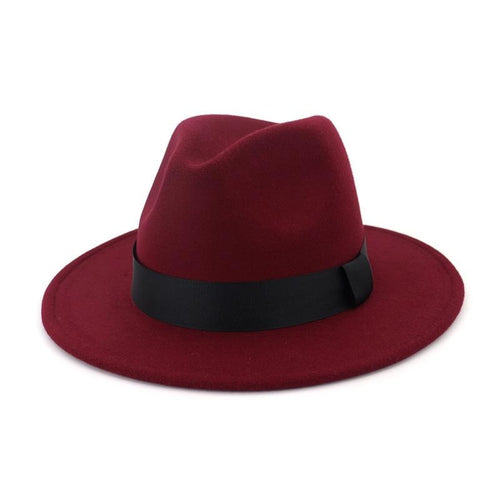 Flat Brim Wool Felt Fedora Hat with Black Ribbon Hatband