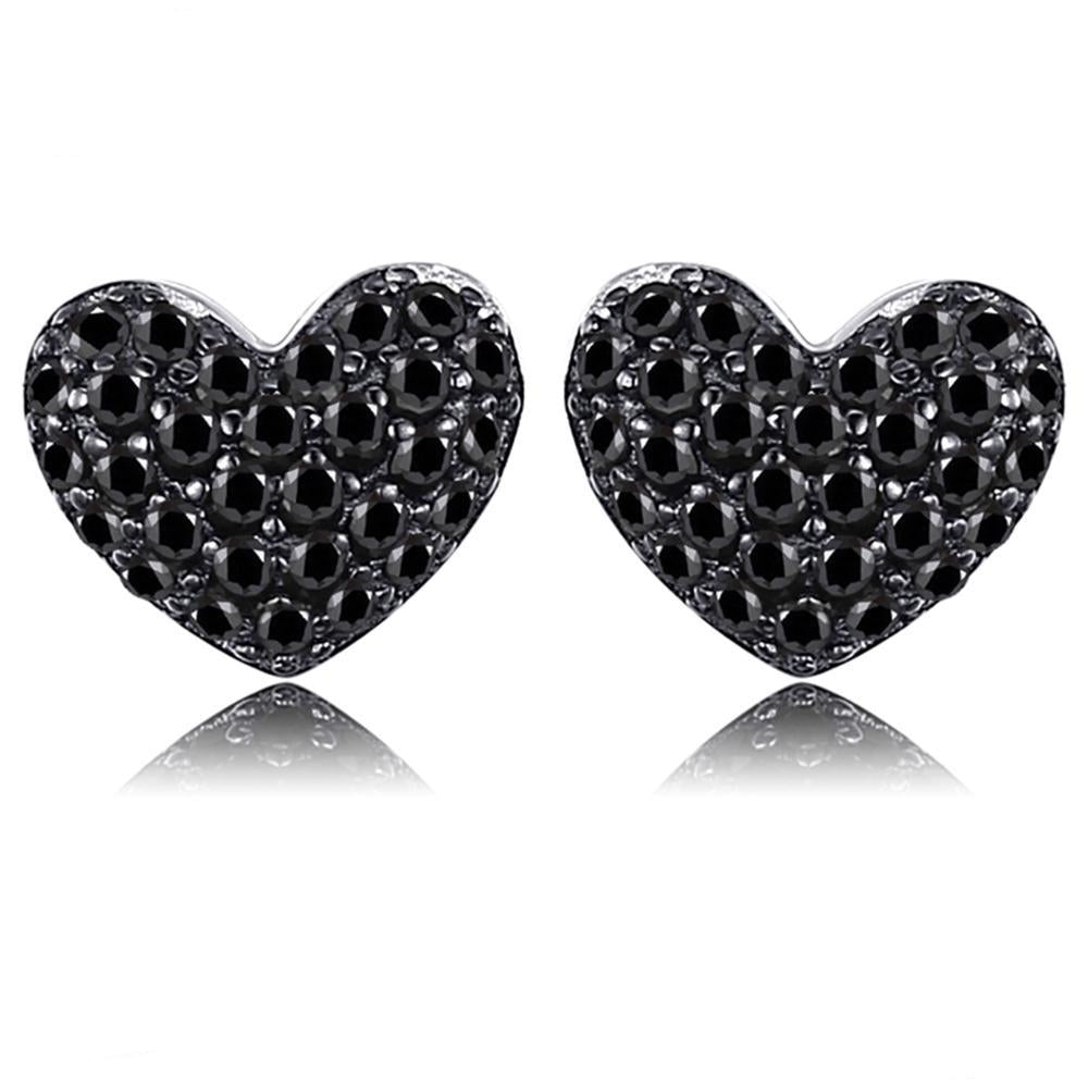 Natural Black Spinel Love Heart Stud Earrings 925 Sterling Silver