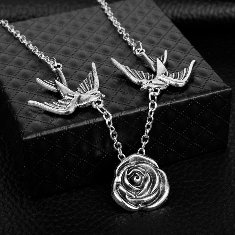 Women's Silver Rose and Doves Pendant Necklace
