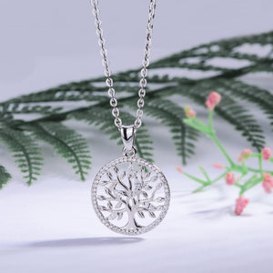 Solid Sterling Silver Tree of Life with Cubic Zirconia Pendant Necklace