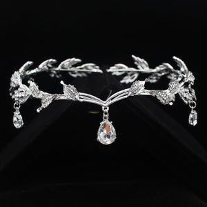 Bridal Fairy Elvish Headdress Tiara Crown with Rhinestone Crystals