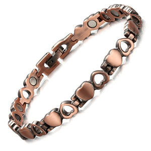 Copper Magnetic Bracelet for Women with Heart-Shaped Links