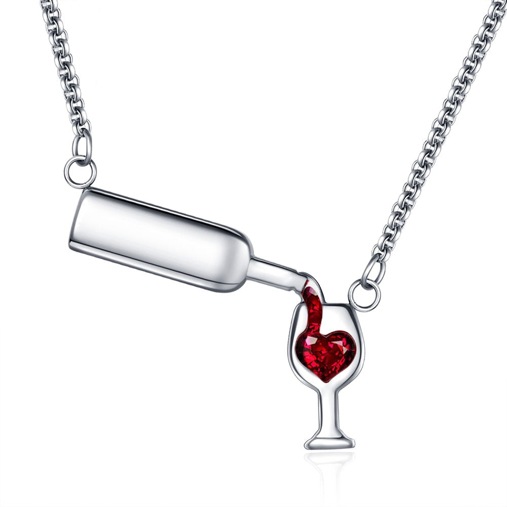 Stainless Steel Wine Glass Red Cubic Zirconia Pendant Necklace