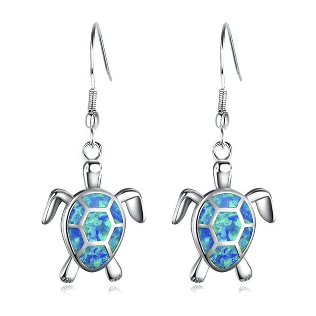 Lovely Opal Turtle Drop Stud Earrings 925 Sterling Silver Women's Jewelry