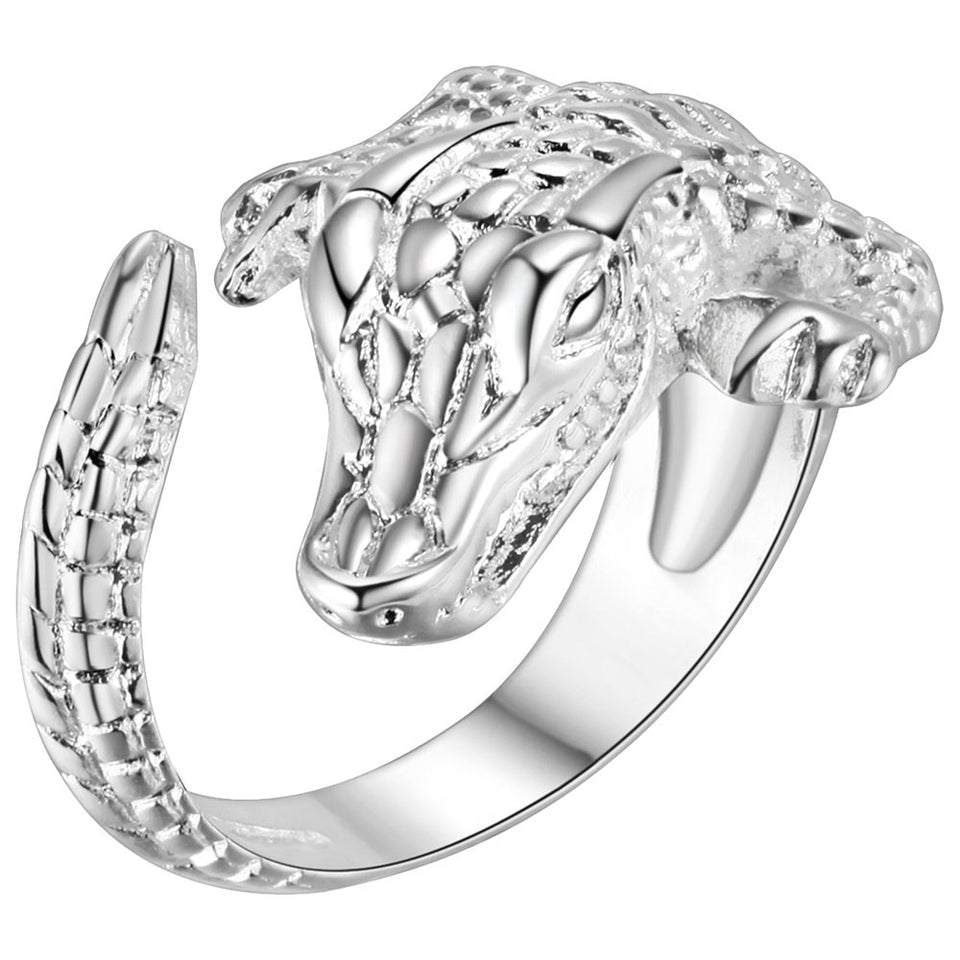 925 Sterling Silver Charming Alligator Ring Resizable Women's Jewelry