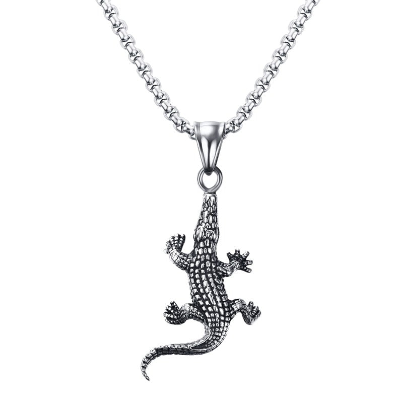 Punk Alligator Chain Pendant Necklace Men's Jewelry