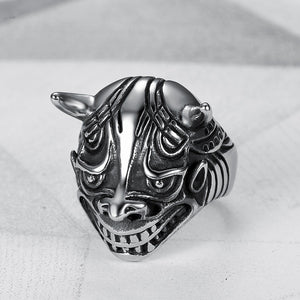 Stainless Steel Old Demon Punk Ring Men's Jewelry