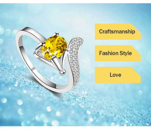 Fox Silver Ring With Yellow Cubic Zirconia