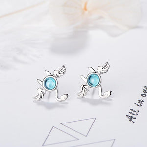 925 Sterling Silver Blue Crystal Bat Stud Earrings For Women