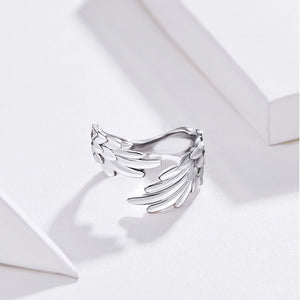 925 Sterling Silver Eagle Wing Shaped Adjustable Ring