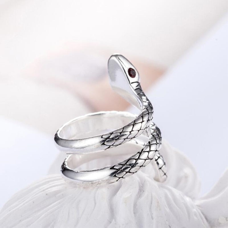 925 Sterling Silver Cobra Adjustable Ring Men's Jewelry
