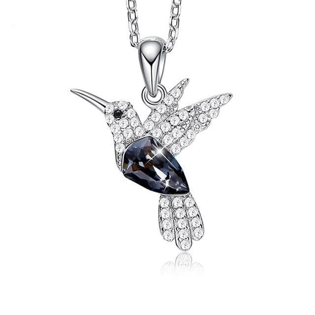 925 Sterling Silver Hummingbird with Crystals Necklace