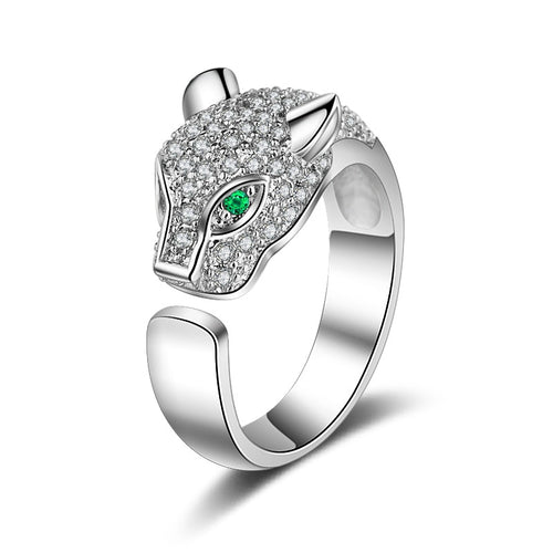 Resizable Green Eyes Silver Leopard Head Ring