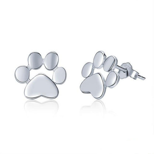 925 Sterling Silver Cat's Paw Stud Earrings Women's Jewelry