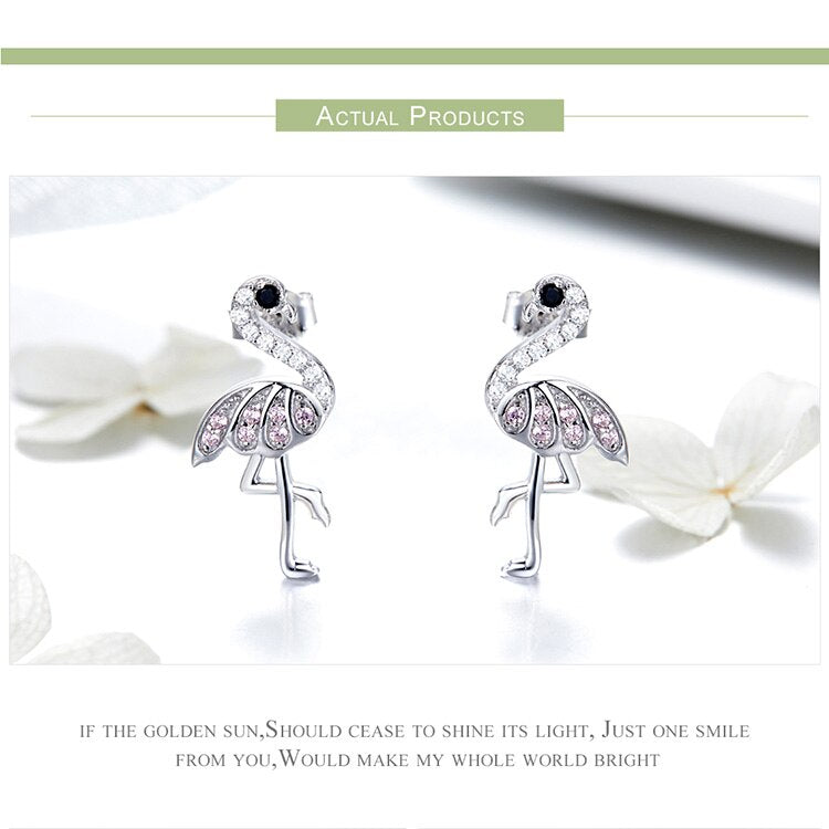 925 Sterling Silver Flamingos with Cubic Zirconia Stud Earrings