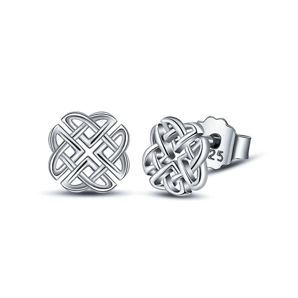 925 Sterling Silver Elegant Celtic Knot Stud Earrings