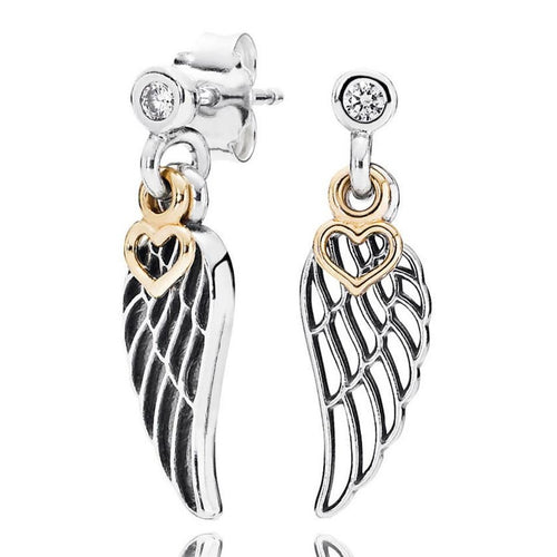 925 Sterling Silver Earring Guardian Angel Wings Stud Earrings