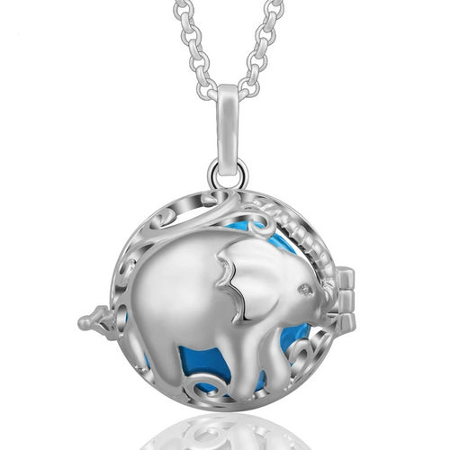 Elephant Harmony Ball Locket Pendant Necklace