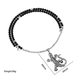 Gecko Lizard Stainless Steel Pendant with Black Natural Stone Necklace