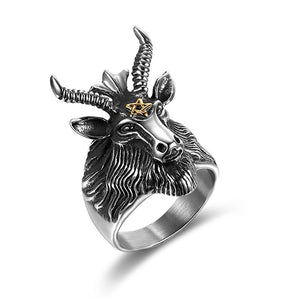 Stainless Steel Gothic Ram with Horns and Pentagram Ring for Men