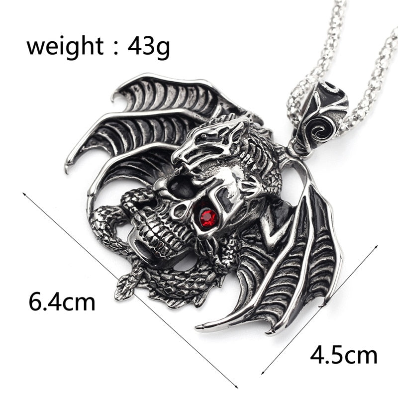 Gothic Flying Skull with Red Crystal Pendant Necklace