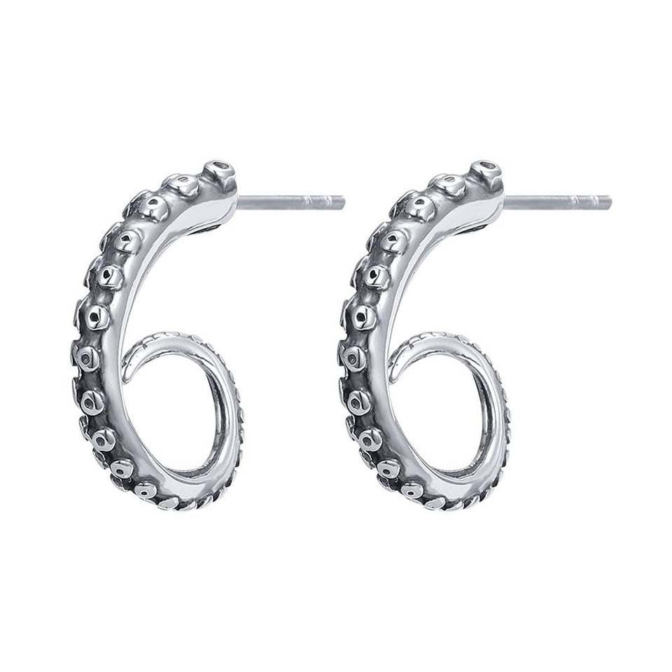 Stainless Steel Octopus Tentacle Stud Earrings for Women