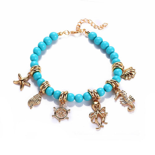 Bohemian Sea Creature Pendant and Beads Anklet For Women