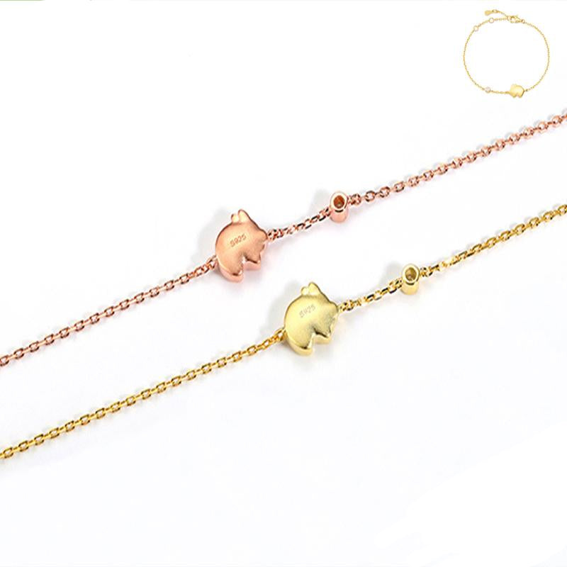 925 Sterling Silver Piglet Ankle Bracelet for Women