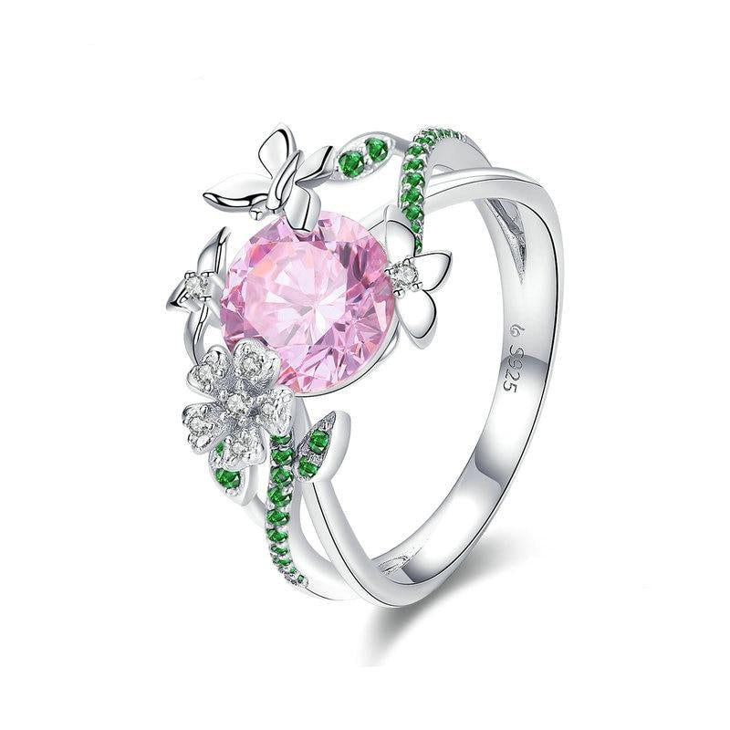 925 Sterling Silver Secret Garden Flower Butterfly Ring Women's Jewelry