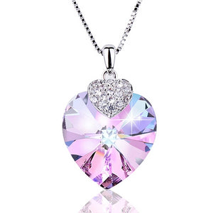 925 Sterling Silver Heart Amethyst with Swarovski Crystal Pendant Necklace