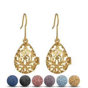 Gold Water Drop Essential Oil Diffuser Dangling Earring
