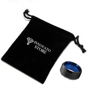 10mm Black and Blue Tungsten Carbide Ring with Beveled Edges for Men