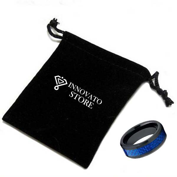 8mm Black Ceramic Band with Beveled Edges and Blue Carbon Fiber Inlay - Innovato Store